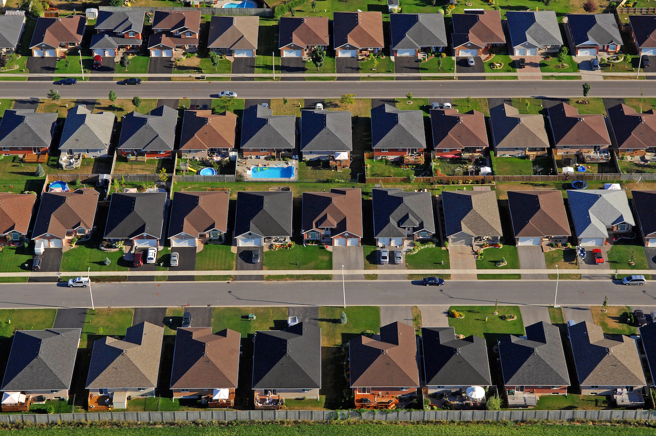 Aerial View of Typical American Suburb