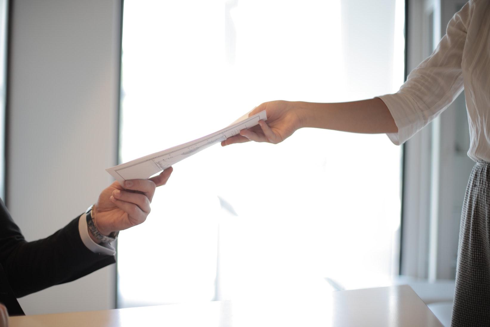 exchanging paperwork